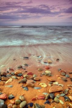 Colorful stones on a peaceful beach