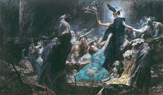 """Die Seelen des Acheron (The Souls of Acheron) by Adolf Hirémy-Hirschl, 1898. """""""