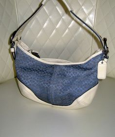 I'm auctioning 'COACH Soho Blue Signature Small Hobo Bag  ' on #tophatter