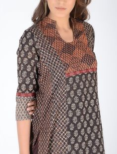 Black-Ivory Block-Printed Cotton Kurta with Embroidery Salwar Neck Patterns, Salwar Neck Designs, Churidar Designs, Kurta Neck Design, Kurta Designs Women, Blouse Designs, Printed Kurti Designs, Indian Designer Suits, Printed Cotton