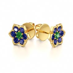 Romantic Stud Earrings with Emerald and Blue Sapphire in 14k White Gold