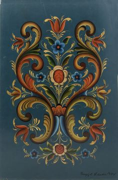 Panel with rosemaling. Painted by the artist when she taught at Vesterheim in 1974. Signed and dated by the artist