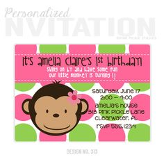 Items Similar To Monkey Invitations Birthday Party Personalized Thank You Cards No313 On