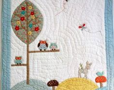 """Handmade Baby Quilt  """"OWL""""/ Baby Quilt With Animal Applique/Baby Gender Neutral/ Made two sides and filling 100% Cotton. Size 125X90 sm."""
