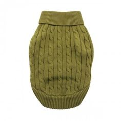 Combed Cotton Herb Green Cable Knit Dog Sweater