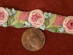 SALVAGED PETITE HANDMADE Antique Vtg SILK RIBBONWORK RIBBON FLOWERS TRIM *DOLLS