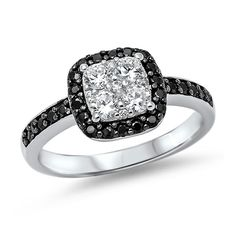 unique square black and white sapphire cocktail ring size 7 925 silver. custom pro jeweler made. Engagement Wedding Ring Sets, Wedding Bands, Halo Rings, Sterling Silver Rings, 925 Silver, Oxford, Black Diamond, White Sapphire, Black White