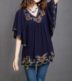 Ethnic Floral Embroidered Blouses Gender: Women Decoration: Embroidery Clothing Length: Regular Sleeve Style: Regular Pattern Type: Solid Style: Casual Fabric Type: Broadcloth Material: Cotton Collar
