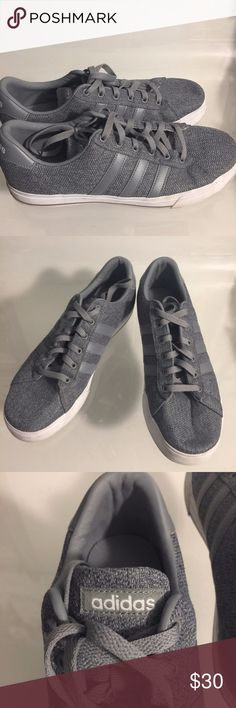 Gray on Gray Adidas Men's Low Top Skater Shoes- 10 What man wouldn't look stylish in these classic gray-on-gray adidas athletic shoes?   These are pre-owned but in really great condition. Just a few minor blemishes here and there. They are fabric-covered with leather-like trim, standard shoestring tie closures, and a 1-inch platform sole.  Size 10M. These measure 4 1/4 inches wide and 11 1/2 inches long. Get them for a fraction of the price of original cost. adidas Shoes Athletic Shoes