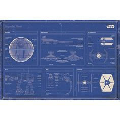 "Star Wars Plakáty, na šířku, 91,5 x 61 cm ""Imperial Fleet Blueprint"" Dostupné online at EMP"