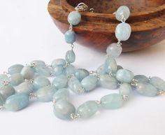 Aquamarine necklace, blue aquamarine, birthstone necklace, beaded necklace, gem necklace, blue jewellery, sterling silver, by graciedot on Etsy