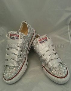 af497c300062 SALE White Low Ox Glass and Pearl Crystal Rhinestone Converse Bling
