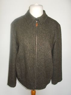Vintage Jaeger tweed wool jacket size large extra large with leather detail by BidandBertVintage on Etsy