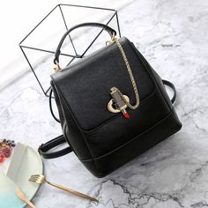 3e9513e633 Brand Backpack Women Backpacks Solid Vintage Girls School Bags for Girls  Black PU Leather Personality lock
