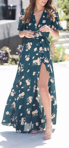 Floral kimono dress Más - My Brand New Outfit Kimono Dress, Floral Kimono, Maxi Wrap Dress, Dress Up, Floral Dresses, Maxi Dresses, Green Floral Dress, Wrap Dresses, Maxi Skirts