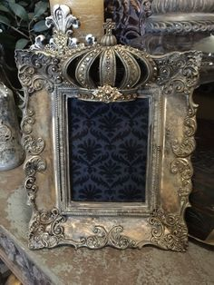 Crown beauty reserved for liz by Prettyblingthings on Etsy Vintage Photo Frames, Antique Picture Frames, Antique Frames, Crown Decor, Damask Decor, White Wall Mirrors, World Decor, Shabby Chic Frames, Mirror Painting