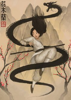 Fa Mulan by Ry-Spirit.deviantart.com on @deviantART - I love the nod to traditional Chinese ink painting here (the mountains and trees, especially), as well as the addition of her name in Chinese characters and the artist's signature looking a bit like a Chinese seal. :D