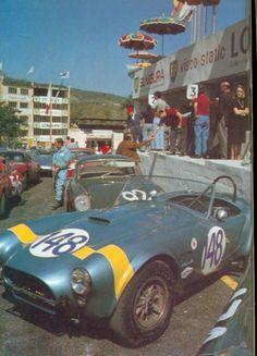 Gregory & Ireland, Shelby Cobra 289 roadster, #148, (DNF-accident), Targa Florio, 1964. --- Cobra pits.
