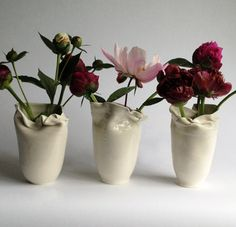 Elegant paper bag vases from Frances Palmer Pottery www.francespalmerpottery.com