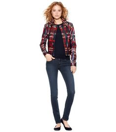 Christina Plaid Leather Jacket | Womens Jackets & Outerwear | ToryBurch.com