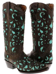 Women's Oviedo Brown Turquoise Overlay Western Leather Cowboy Cowgirl Boots New #CowboyProfessional #CowboyWestern #Casual