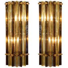 Murano Amber & Tea Glass Sconces by Venini | From a unique collection of antique and modern wall lights and sconces at https://www.1stdibs.com/furniture/lighting/sconces-wall-lights/