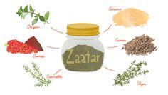 Zaatar  Assaisonnement parfumé et piquant avec un arrière gout de noisette. Peut faire une saveur de fond subtile pour la viande rouge ou il peut ajouter une note plus lumineuse aux poissons et aux volailles. Il peut être également saupoudré sur le dessus de pains pita, sur les légumes grillés, ou utilisé dans les trempettes comme l'humus, le baba ghanoush, ou le tzatziki.  Portions : 1 Origan séché – 1 Sumac en poudre – 1 Sarriette séché – 1 thym séché – 1 Cumin moulu – 1 Sésame Zaatar Recipe, Pain Pita, Food Illustrations, Saveur, Bio, Patience, Barbecue, Sauces, Recipes