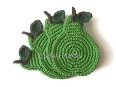 Green Pear Crochet Coasters . Fruit Decor Crochet Leaves Beverage Drink Juice Healthy Vegan Cup  - Set of 4. 24.00, via Etsy.