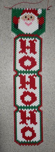 Handmade Hand Beaded Ho Ho Ho Santa Beaded Banner with Nylon Cord Pony Bead Projects, Pony Bead Crafts, Beaded Crafts, Christmas Perler Beads, Crochet Christmas Ornaments, Beaded Ornaments, Christmas Crafts To Make, Christmas Decorations To Make, Christmas Holiday