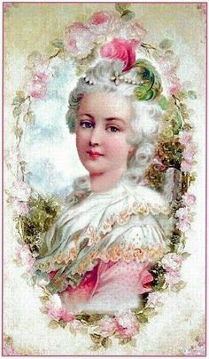 Marie Antoinette Antoinette was the last Queen of France and one of the more famous victims of the guillotine during the French Revolution. Antoinette was famous for her excess in a time of extreme economic hardship for her country. Victorian Paintings, Victorian Art, Victorian Women, Floral Vintage, Vintage Flowers, Vintage Prints, Vintage Cards, Vintage Paper, Vintage Postcards