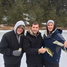 Perfect day for ice fishing! This is one of the several fish we caught today. #icefishing #bass