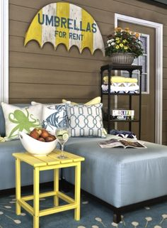 Sunny Yellow Decor for a Coastal Summer LookI love the umbrella sign on the wall. Nothing feels more summery and beachy to me than colorful Beach Umbrellas! By Kandrac Kole Interiors. (click to continue...)