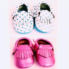 Little Man or Little Miss moccasins. #babymocs #polkadot #fringe