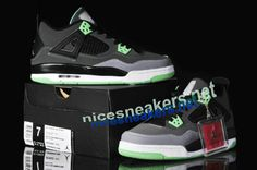 4425d52b2017  Air  Jordan 4 Oreo Womens Glow Green Dark Grey Black  Black  Womens   Sneakers