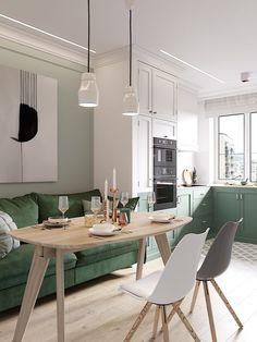 Cozy Scandinavian Style Home With Green Decor Ideas Accogliente casa in stile scandinavo con Green Dining Room, Dining Room Design, Interior Design Kitchen, Dining Rooms, Modern Interior, Tv Rooms, Movie Rooms, Green Interior Design, Luxury Interior