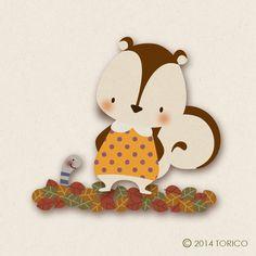 #illustrations #autumn #animal #leaves #fall #squirrel