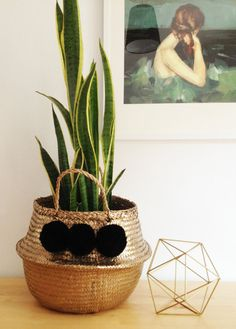 Pom Poms Gold Black Seagrass Belly Basket Panier by TalaHomeDesign