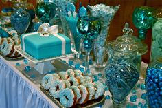 Tiffany Blue Wedding Decorations for the Candy Bar Reception!  Gorgeous shades of blue!