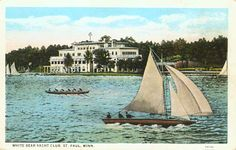 White Bear Yacht Club and sailboats on the lake, Dellwood, 1910
