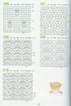 262 Puntos a Crochet Crochet Stitches Chart, Different Crochet Stitches, Crochet Motifs, Crochet Diagram, Crochet Squares, Crochet Lace, Free Crochet, Crochet Patterns, Crochet Books