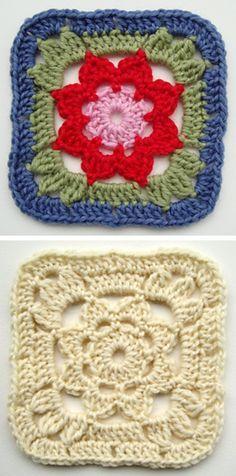Granny Square With a Flower, free pattern by Jolanta Gustafsson . . . . ღTrish W ~ http://www.pinterest.com/trishw/ . . . . #crochet #motif