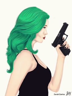 """A green haired woman with a gun :) completely made with """"Gimp"""" and an wacom grafic tablet. It took me 8-9 hours to draw this. I'm a beginner, so it isn't perfect but I hope you like it :)"""
