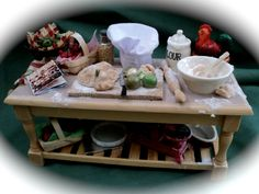 """DOLLS HOUSE MINIATURES - """"Country Kitchen"""" Preparation Table"""