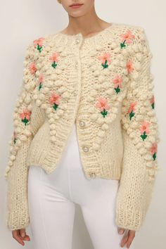 Look Retro, Cute Casual Outfits, Cardigans For Women, Knit Cardigan, Cute Dresses, Knit Crochet, Lily, Floral, Women's Jackets