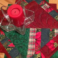 Quilted Christmas Table Mug Rug Placemat Scrappy $9.00