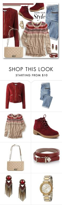 """Red Suede Jacket & Boots"" by brendariley-1 ❤ liked on Polyvore featuring IRO, Wrap, maurices, Steve Madden, BOSS Hugo Boss and FOSSIL"