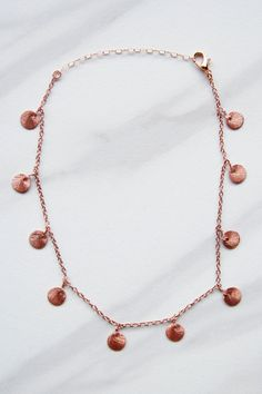 Rose Gold Disc Drop Necklace