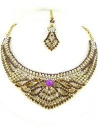 Purple Color CZ Stones Embellished In This Gorgeous necklace Set