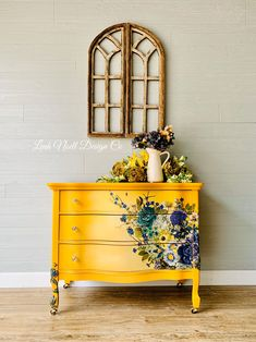 Sunny Days Painted Dresser Repurposed Furniture days dresser painted sunny What is Decoration? Decoration is the art of decorating the … Diy Furniture Redo, Hand Painted Furniture, Funky Furniture, Refurbished Furniture, Repurposed Furniture, Shabby Chic Furniture, Furniture Projects, Dresser Repurposed, Colorful Furniture