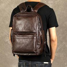 371dcee82b7d Genuine Leather Mens Cool Backpack Sling Bag Large Coffee Travel Bag Hiking  Bag for men